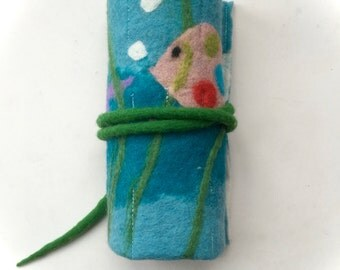 Crayon Roll,Felted Waldorf ,Beeswax,Fish,school.