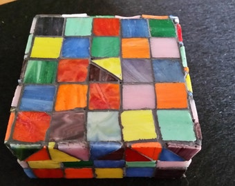 FREE U.S. SHIPPING--Unique Stained Glass Mosaic Folkart Box