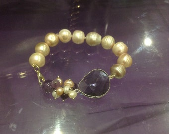 Sale freshwater pearl and amethyst bracelet
