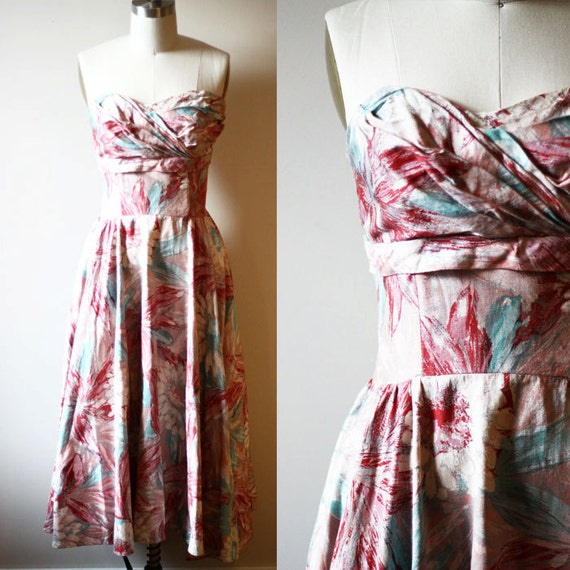 1950s painted strapless dress // silver // vintage dress