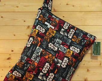Cloth Diaper Wetbag, Star Wars, Diaper Pail Liner, Diaper Bag, Day Care Size, Holds 12 Diapers, Size Large with Handle  #L69
