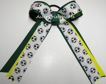 Soccer Bow, Soccer Green Yellow Ponytail Holder, Kids Childrens Soccer Team Ribbons, US FIFA Spirit Clip, Cheap Bulk Price Sale Soccer Bows