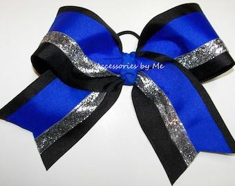 Big Cheer Bow, Electric Royal Blue Black Silver Glitter Ribbon, Cheerleader Bows, Competition Spirit Team, Bundle Bulk Wholesale, Cheap Lot