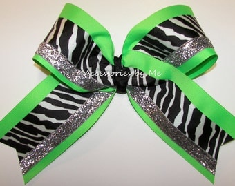 Big Cheer Bow, Sparkly Neon Green Black Cheerbow, Girls Uniform Accessories, Competition Cheerleader Competitive Spirit Team Discount Lot