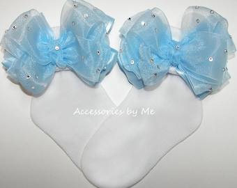 Glitzy Light Blue Bow Socks, Girls Socks, Blue Baby Socks, Infant Socks, Toddler Socks, Organza Trim Bow Socks, Cinderella Costume Pageant