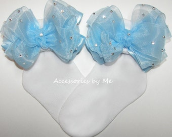 Girls Socks, Baby Socks, Infant Socks, Toddler Socks, Glitzy Light Blue Bow Socks, Organza Embellished Bows, Bobby Socks, Cinderella Pageant