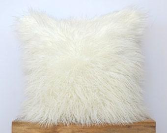 """Off White Mongolian Faux Fur Pillow - 20"""" x 20"""" - Ivory Pillow Cover, Neutral Pillow, Fur Pillow, Throw Pillow"""