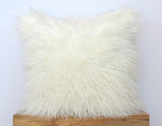 off white mongolian faux fur pillow 20 x 20