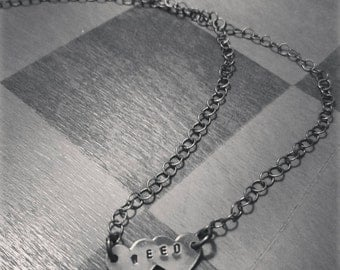 Double heart 'weed' copper necklace