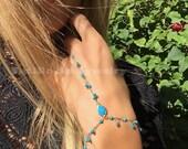 Into You Turquoise Hand Chain, Turquoise Bracelet, Shaker Hand Chain, Festival Jewelry, Boho Bride, Coachella