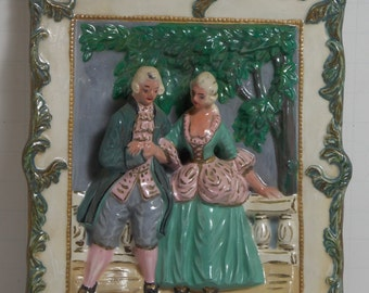 Vintage 3D Courting Scene Wall Plaque