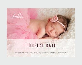 Birth Announcement - Photo Birth Announcement - Custom Birth Announcements - Birth Announcement Cards - Custom Birth Announcements
