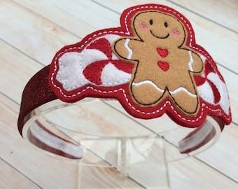 Gingerbread Man Headband - Gingerbread Girl Headband - Christmas Headband - Holiday Headband - Peppermint Headband - Red Headband