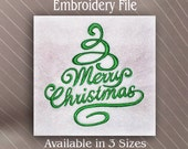 Merry Christmas tree three sizes in Machine Embroidery Design File Instant Download