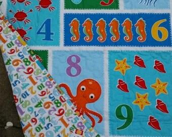 Ocean Crib Bedding, Ocean Nursery, Beach Quilt, Numbers Quilt, Preschool Quilt, Gender Neutral Crib, Ocean Bedding