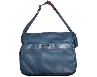 Vintage 80's Blue Luggage Carry On Tote Travel Traveling Samsonite Bag Shoulder Strap Case Overnight Bag, Carry On Luggage, Carry On Bag