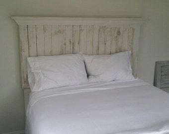 Antique White Pallet Wood Headboard