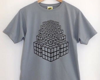 Rubix Returns T Shirt / Rubix Cube T Shirt, Retro Tee, Graphic T Shirt, Screenprint T Shirt, Mens Screenprinted Tee, Eighties T Shirt