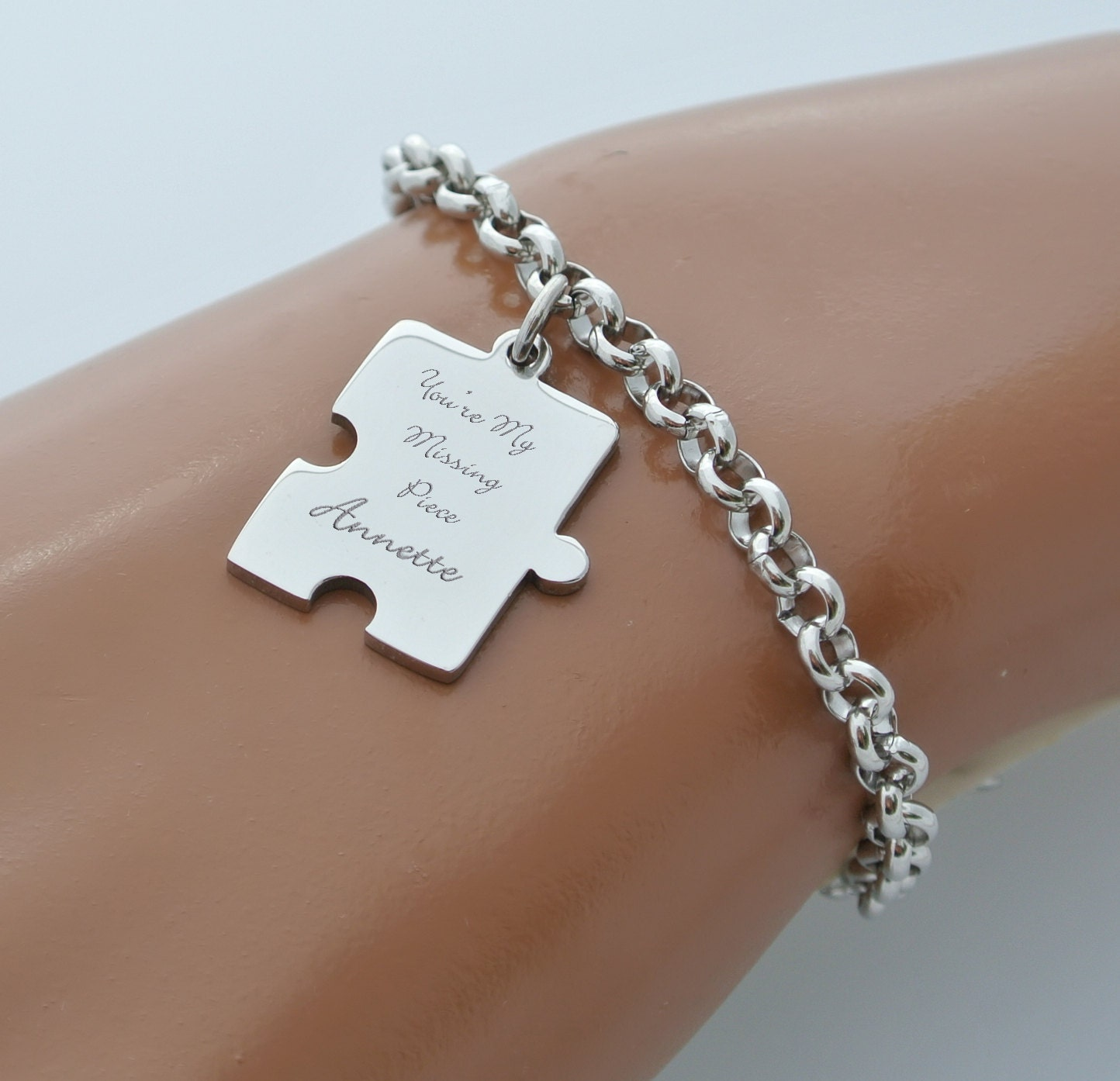 engraved charm bracelet personalized silver stainless