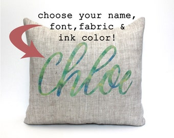 "baby gift, baby pillow, baby shower gift, child's name pillow, personalized pillow, birthday pillow - ""The Chloe"""