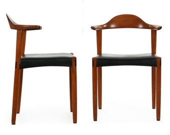 Pair of Vintage Danish Mid Century Modern Sculpted Teak and Rosewood Inlaid Elbow Horn Arm Chairs, 609XSK10P