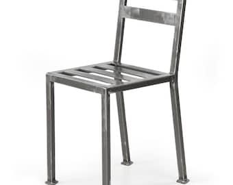 French Industrial Welded Steel Vintage Style Side Chair w/ Tumbled Steel Surface, 1502AKW-n