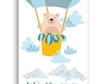 Instant Download PDF file Nursery Decor, Nursery Art Print, Nursery Wall Art, Playroom Decor,  Lets fly away Print