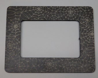 Handmade Halloween Spider Web Themed 4 by 6 or 6 by 4 Inch Picture Frame