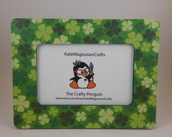 Handmade Decoupage Embellished St Patricks Day/ Irish/ Shamrock Themed 4 by 6 or 5 by 7 inch Picture Frame