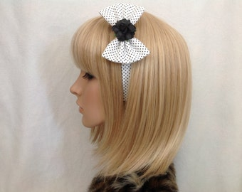 Black white polka dot rose headband hair bow rockabilly psychobilly pastel pale Lolita cute pin up girl vintage shabby chic floral pretty
