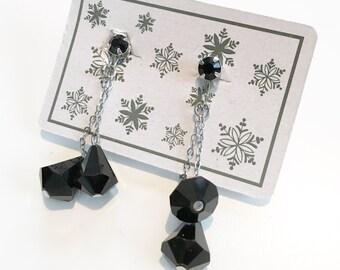 Stunning Black Crystal Vintage Costume Jewelry Dangle Earrings