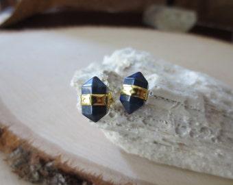 Lapis earrings, lapis studs, lapis stud earrings, blue lapis earrings, lapis lazuli earrings, lapis point studs