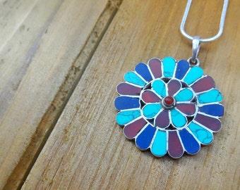 Multi Color Boho Flower Necklace - Turquoise - Jasper - Red - Blue
