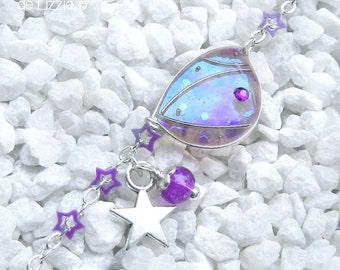 "Starry Fairy"" Bracelet, Wing 1 Silver / Bilberry Crush"