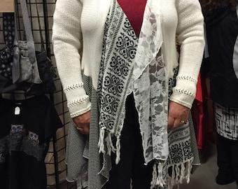 Plus size Cream sweater Lagenlook OOAK Romantic Gypsy Festival Upcycled Wearable Art boho chic bohemia