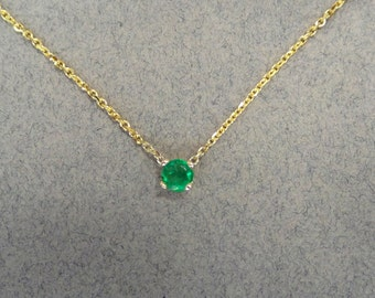 Emerald Pendant/ Yellow Gold 14k Natural Emerald 0.25ct Solitaire Necklace/ Delicate Columbian Natural Emerald Necklace/ Dainty Pendant