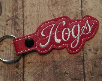 Arkansas,Razorbacks,Hogs,Pig Sooie,Never Yield,University of Arkansas,Fayetteville,Red,White,Key Chain,Snap Tab