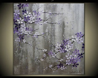 "Original Modern Art  Painting on Gallery wrapped Canvas , Home decor, 30"" x 30"" Purple Cherry Blossoms"