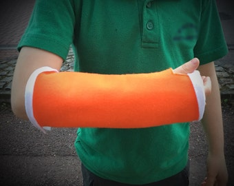 First aid plaster cast , broken arm bandage