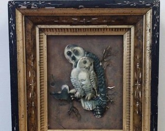 Antique Etched Wood Picture Frame 15 x 13