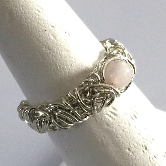 Rose Quartz Engagement Ring Filigree Ring Rustic Wedding