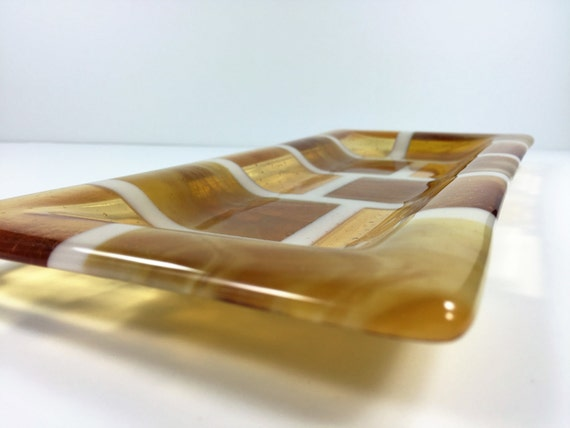 Fused Glass Amber Serving Dish - Tray - Decrotive Tray - Dining & Serving