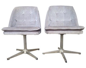 70s Crushed Velvet Accent Chairs - A Pair