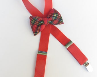 Red Plaid Toddler Bow Tie Suspender Set, Red Plaid Toddler Suspender Set, Christmas Suspender Set