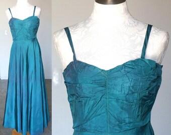 40s Taffeta Full Length Slip Night Gown Turquoise Blue Green XS Small