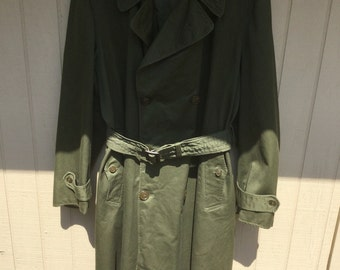 Vintage 1952 Army Olive Green Trench Overcoat in Excellent Condition