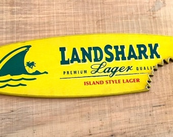 Landshark Surfboard wall hanging surfboard decor OBX Wood surfing beach decor man cave bachelor tiki bar beach art nautical shark Yellow