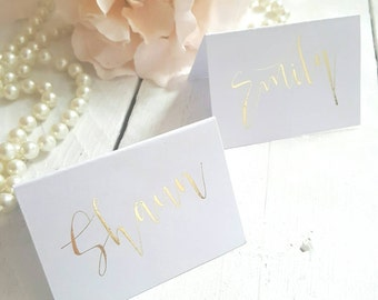 Gold Place Cards Foil On White Per Card Aura Font