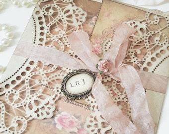 vintage wedding invitation rustic shabby chic wedding stationery