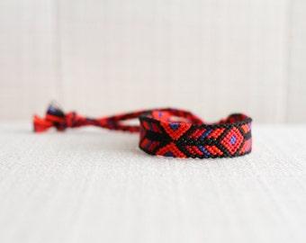Friendship Bracelet Woven Bracelet Tribal Diamond Chevron Black Red Blue Stocking Stuffer